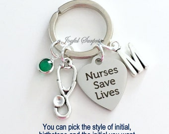 Nurse Keychain, Gift for Nurse Keyring, Nurse's Key Chain, Appreciation Medical Nurses Save Lives initial birthstone personalized custom