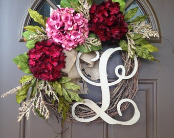 Wreath - Grapevine Initial Wreath - Front Door Decor -Spring Wreath - Summer Wreath - Monogrammed Hydrangea Wreath with Burlap Bow - Gift
