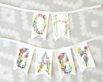 Name Banner, Floral Name Banner, Custom Bunting, Personalized Christmas Gift, Baby Shower, Happy Birthday, Nursery, Wedding Gift, Cake Smash