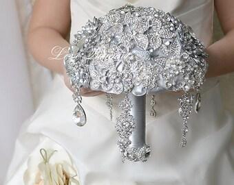 Rhinestone Wedding Brooch Bouquet Silver Dangle Earrings Bridal Bouquet Jewelry Bouquet Crystal Bouquet Wedding Brooch with Drop Earrings