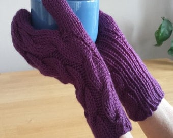 Hand Knit Mittens. Cable Knit Mittens. Colourful Dark Purple Mittens.