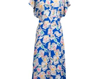 Vintage 1990s novelty print collared maxi dress- 90s retro novelty print maxi summer dress- 90s long vintage day dress - Large
