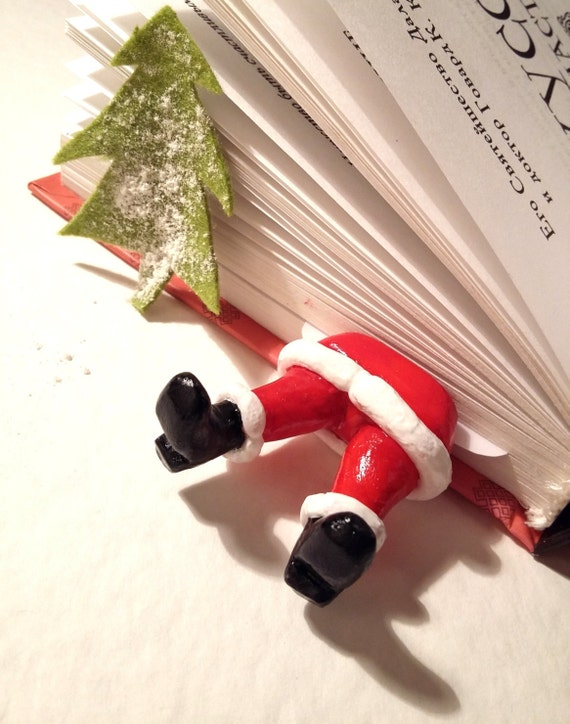 Christmas Santa Claus bookmarks, Red Legs of Santa Claus bookmark, Santa Claus in book, Christmas bookmarks boots of Santa, Santa bookmark