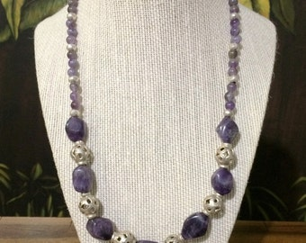 Silver And  Amethyst Necklace.