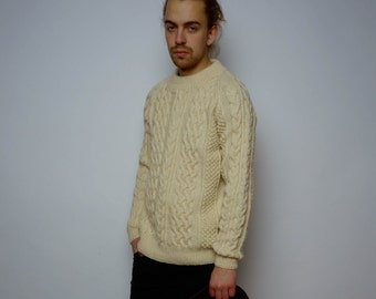 Vintage 80's Thick Aran Knit Wool Sweater