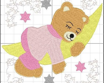 bear on the moon  stars embroidery design