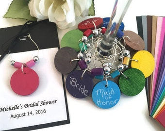 Bridal Shower Favors, Wedding Shower Favors, CUSTOM COLOR Chalkboard Wine Glass Charms With Colored Paper Beads, Shower Wine Charm Favors