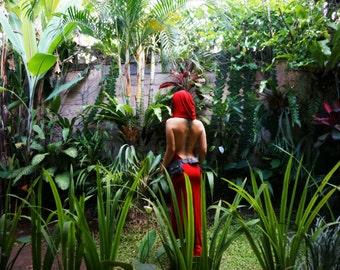 DANCING DAKINI DRESS ~ Long Hooded Backless Dress ~ Red ~ SensuAngelic Women's Wear