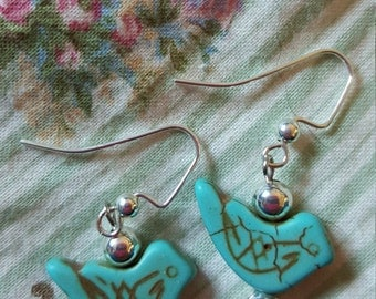 Turquoise Bird Earrings