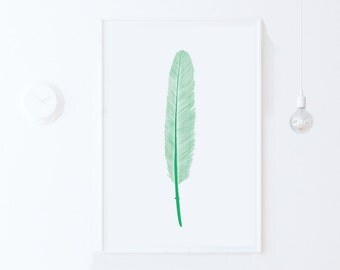 Mint Green Wall Art Print-Modern Digital Print Download-Feathers Wall Art Printable Art-Nursery Feathers Print-Mint Green Nursery Decor