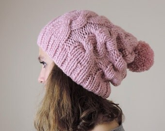 Soft Pink (or Choose Color) Hand Knitted Beanie, Slouchy Beanie, Cable Knit Hat, Pom Pom Beanie, Mens Wool Hat, Womens Cabled Beanie
