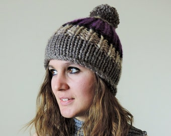 Chunky Pom Pom Hat, Color Block Hat, Hand Knit Pom Pom Hat, Womens Hat, Gray, Beige, Purple