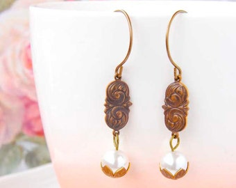White Pearl Dangle Earrings Victorian Earrings Antique Brass Earrings Boho Earrings Vintage Inspired Jewelry June Birthstone Gift For Her