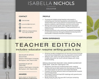 TEACHER RESUME Template For MS Word   1 & 2 Page Resume, Cov Letter, Ref Letter, Educator Resume Writing Guide   Instant Download