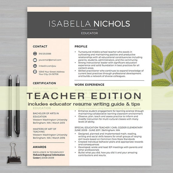 Complete Guide To Microsoft Word Resume Templates: TEACHER RESUME Template For MS Word 1 & 2 Page Resume Cov