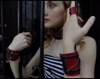 ReD and BlacK leather accessories