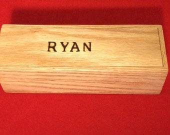 Personalized Wooden Oak Sliding Top Pencil/ Keepsake Box