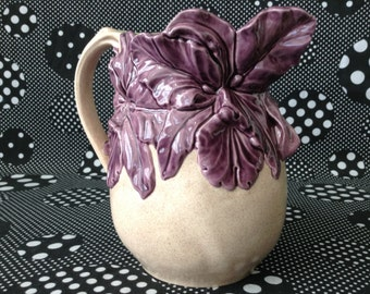 Purple Orchid~Pitcher~Vase~Hand Painted~Dated 91~Studio Art