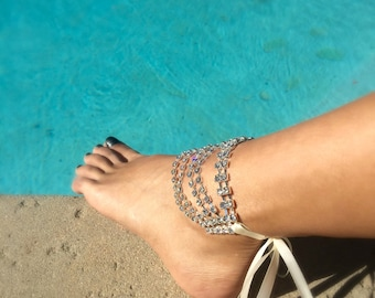 Bridal Foot Jewelry, Rhinestone Barefoot Sandals, Silver Foot Jewelry, Beach Wedding Barefoot Sandals
