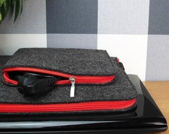 FELT LAPTOP SLEEVE MacBook Cover Dark Gray Felt Red Zipper Extra Charger Pocket All Sizes Customisable