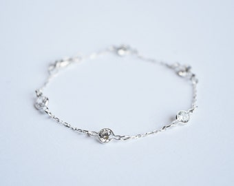 CZ by the Yard Bracelet, Diamonds by the Yard, Cubic Zirconia Solitaire Station Bracelet, Bridesmaid Gift
