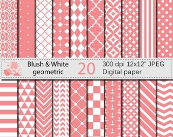Blush and White Geometric Digital Paper Set, Geometric Digital papers, Blush White Scrapbooking papers, Instant Digital Download