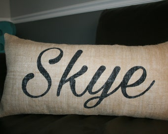 Burlap Pillow, Name Pillow, Decorative Pillow, 12x24 Lumbar Pillow, Personalized Pillow, Custom Pillow, Gift Pillow