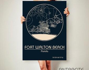 Fort WALTON BEACH Florida CANVAS Map Fort Walton Beach Florida Poster City Map Fort Walton Beach Florida