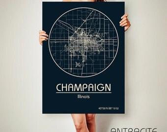 CHAMPAIGN Illinois CANVAS Map Champaign Illinois Poster City Map Champaign Illinois Art Print Champaign Illinois poster Champaign Illinois