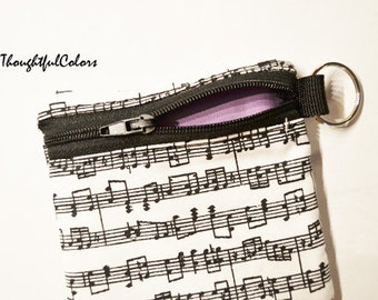 Coin Pouch, keychain, zippered pouch, coin purse, minizippered pouch, music notes, backpack, kids