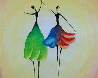 Watercolour Abstract Dancing Ladies