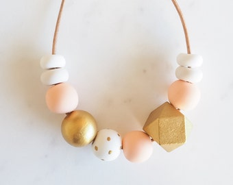 Peach and Gold Geometric polymer clay necklace