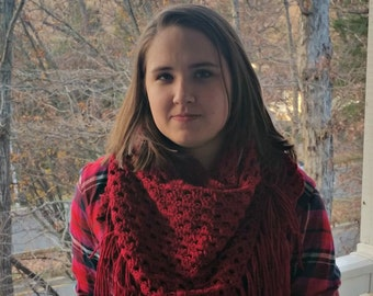 Crochet triangle scarf with fringe, Small tassel shawl, Women's warm winter wrap scarf