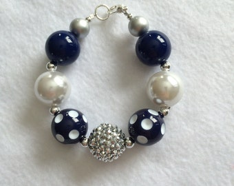 SALE - Chunky Bead Bracelet (Navy Blue)