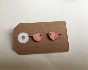 Wooden bird earrings
