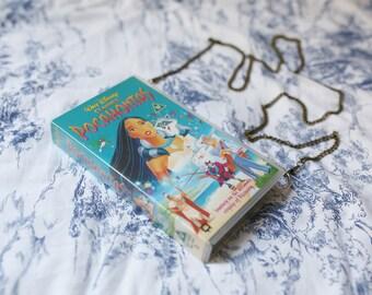 Disney's Pocahontas upcycled handbag, VHS video case shoulder bag clutch, retro