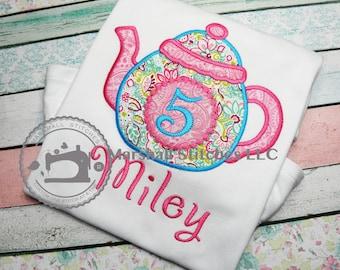 Tea Party Birthday Shirt 1-9!/ Tea Party Shirt/ Teapot Birthday Shirt