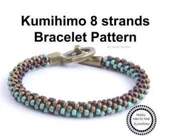 Kumihimo 8 strands bracelet pattern