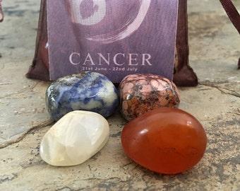 CANCER Zodiac Stone Set | Horoscope Zodiac Kit, Crystal Healing Gemstone Kit | Mediation Stones