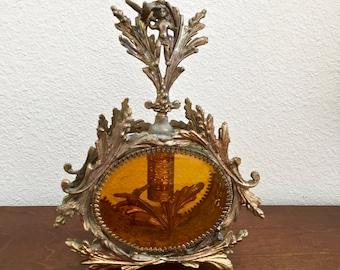 Vintage French Perfume Bottle, Ormolu gold gilt-Brass decanter - Angel top Vintage Bedroom Decor