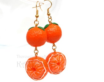 Oranges beaded earrings made of polymer clay (colorful and juicy fruits)