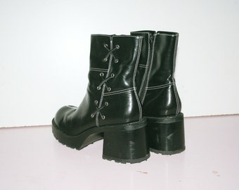 US 9 / UK 7 / 90s Chunky Platform Black Boots / Booties / Cyber Goth / 90s Grunge