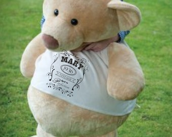 Giant teddy bear. Personalised. Add any text or image to the t shirt. 86cm tall. Gorgeous unique teddy bear. perfect as a gift. romantic.