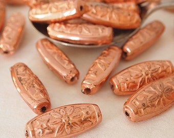 6 Long Oval Beads Resin Embossed Pattern Vintage Style Copper Coated Metal Appearance Size 31 x 13mm