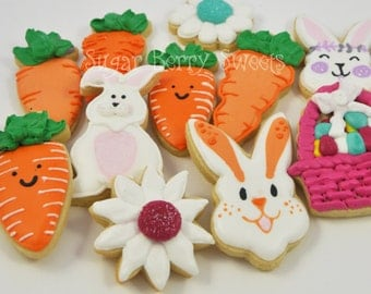 1 Dozen Cute Carrot and Easter Bunny Decorated Iced Sugar Cookies - Easter - Spring - fun - carrots -flowers - garden - gift - Easter basket