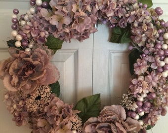 Lavender and Lace Shabby Chic Hydrangea Wreath