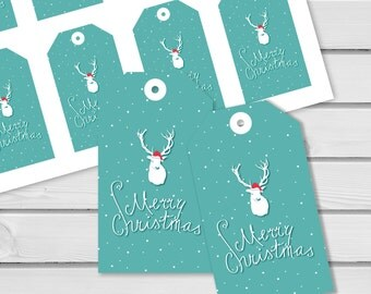 Christmas Gift Tags Printable Digital Instant Download