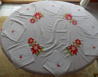 Tablecloth, round-flowered red, and 8 table tablecloth towels white-cotton-embroidered hand