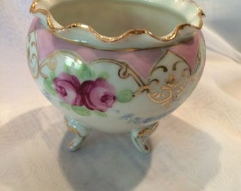 Vintage Hand Painted Urn, Vase, Victorian Decor