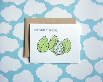 Just Thinking of You Is All - Silly Fruit Series Greeting Card